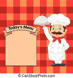 servire, cartone animato, cibo, chef