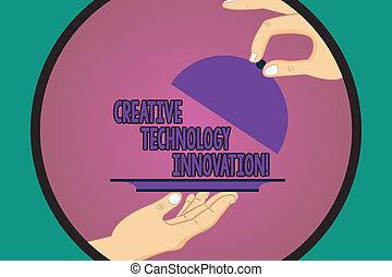 servire, colorare, testo, mente, segno, tecnologia, circle., coperchio, liberare, idee, creativo, foto, concettuale, nuovo, esposizione, hu, innovation., mani, sollevamento, concepire, analisi, piatto da portata, vassoio, dentro