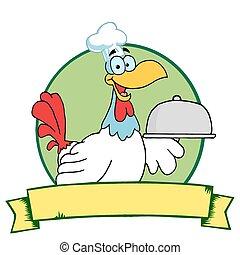 servire, gallo, piatto da portata, chef