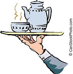 servire, mano, vassoio cibo