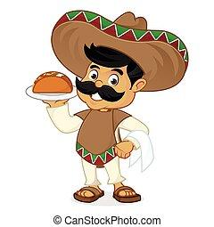 servire, messicano, cartone animato, uomo, taco