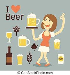 servire, ragazza, birra