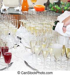 servire, ristorante, champagne