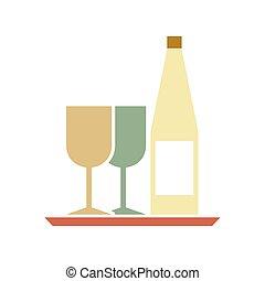 servire, vassoio., bottiglia, occhiali