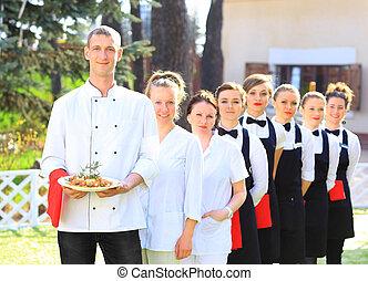 servitörer, stor grupp