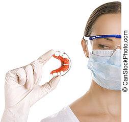 serviteur, (isolated, dentiste, tenue, dents