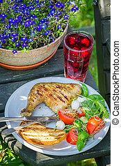 servito, cena, giardino, frescamente, barbeque
