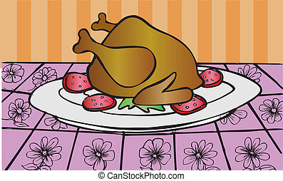 servito, cena, pollo, arrosto, ta