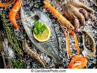 servito, frutti mare, nero, pietra