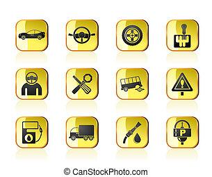 servizi, automobile, icone