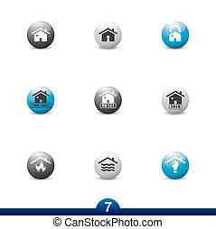 servizi, casa, icona, -, serie