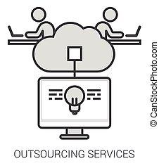 servizi, infographic., linea, outsourcing