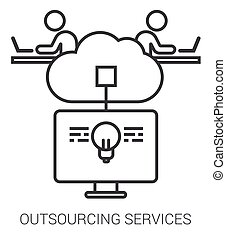 servizi, infographic., linea, outsourcing