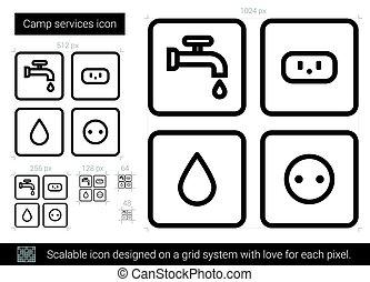 servizi, linea, campeggiare, icon.