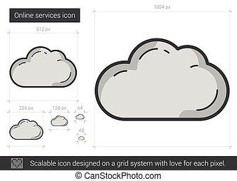 servizi, linea, icon., linea