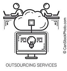 servizi, linea, outsourcing, icons.