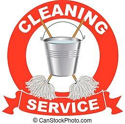 servizi, logotipo, pulizia