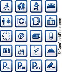servizi, motel, set, segni