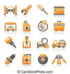 servizi, parti macchina, icone