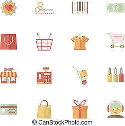 servizi, set, shopping, supermercato, icone