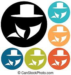 servizio, agente segreto, suit., icona, uomo
