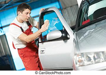 servizio auto, pulitore, lavaggio, automobile