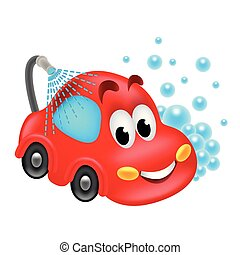 servizio, automobile, isolato, illustrazione, lavare, vettore, cartone animato
