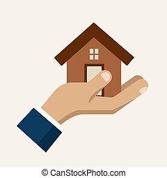 servizio, casa, mano, vettore, presa a terra, assicurazione, icona