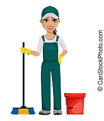 servizio, concept., carattere, allegro, pulizia, cartone animato