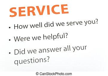 servizio, feedback