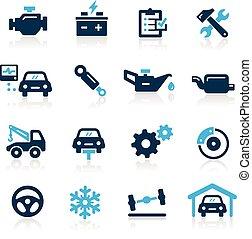 servizio, icone, --, automobile, serie, azzurro
