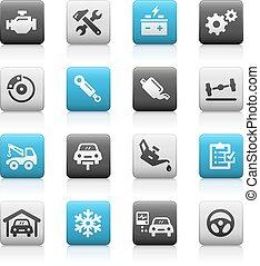 servizio, icone, serie, -, metallina, automobile