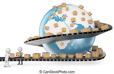 servizio, persone., consegna, internazionale, bianco, 3d