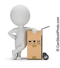 servizio, persone, -, consegna, piccolo, 3d
