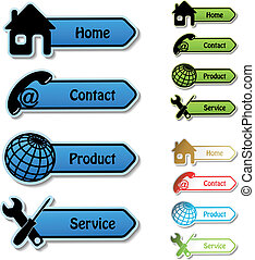 servizio, prodotto, -, vettore, contatto, bandiere, casa
