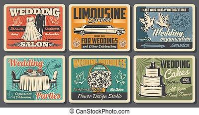 servizio, sposa, matrimonio, vendemmia, vestire, salone, manifesti