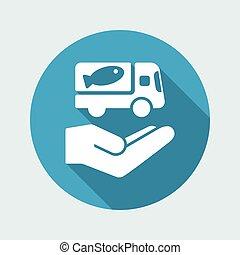 servizio web, cibo, -, consegna, vettore, icona