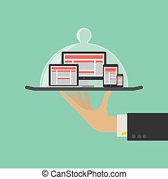 servizio web, concept., vettore, disegno, sensibile