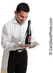 servo, cameriere, sorridente, barista, o