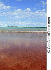 Ses Salines Formentera colorful saltworks horizon in...