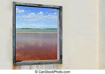 Ses salines formentera view from wooden window