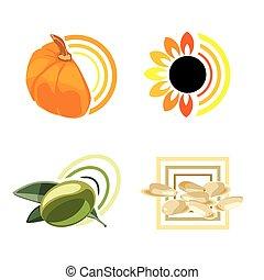 sesam, zonnebloem, pompoen, olive