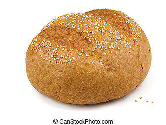 Sesame bun - Fresh baked sesame bun isolated on white