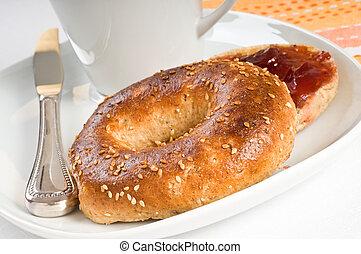 Sesame Seed Bagel - Toasted sesame seed bagel served with...