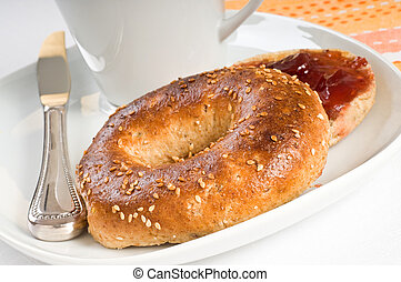 Sesame Seed Bagel - Toasted sesame seed bagel served with ...