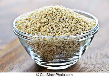 Sesame seeds close up in glass bowl
