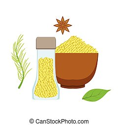Sesame seeds in a wooden bowl and glass jar, herbs and spices selection. Colorful cartoon illustration