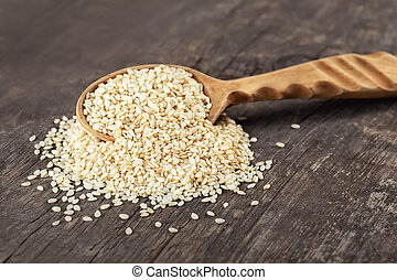 sesame seeds in scoop