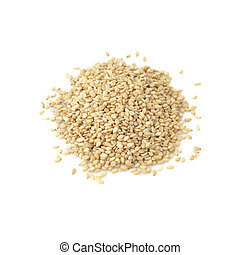 Sesame Seeds on White Background