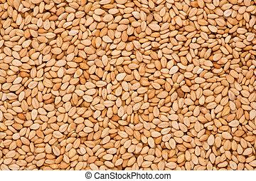Close up shot of roasted sesame seeds.